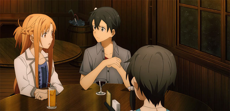A scene showing Asuna wearing the ring