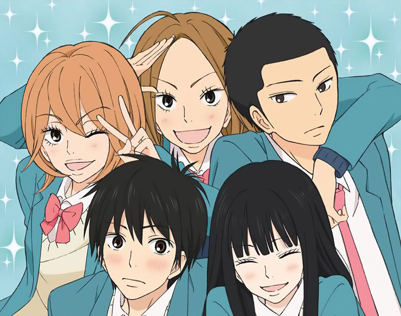 The main characters of Kimi ni Todoke: Sawako, Shouta, Ryuu, Chizuru, and Ayane