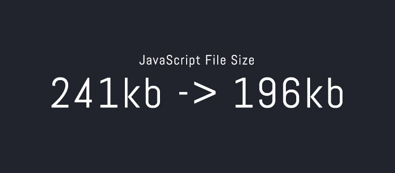 JavaScript file size reduction from 241kb to 196kb