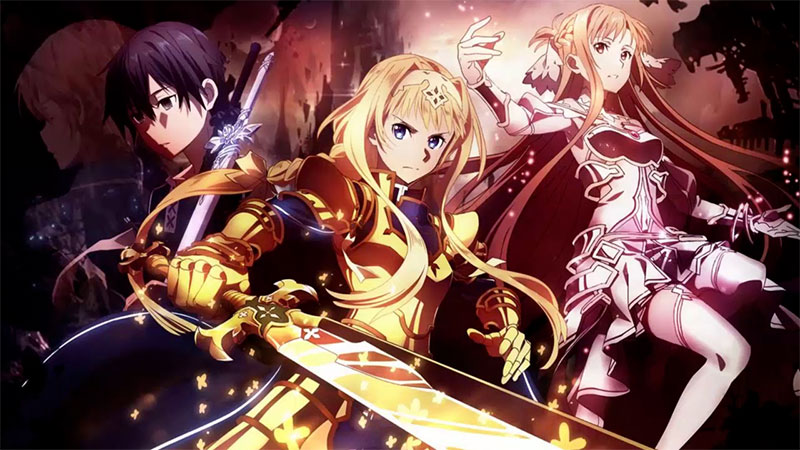 Kirito, Alice, Asuna - SAO War of the Underworld